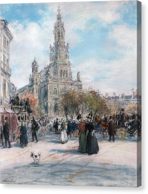 Dog Walking Canvas Print - La Place De Trinite by Jean Francois Raffaelli