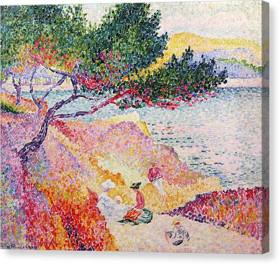 Pointillism Canvas Print - La Plage De Saint-clair by Henri-Edmond Cross