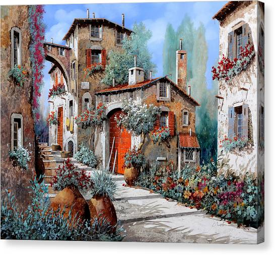 Door Canvas Print - La Porta Rossa by Guido Borelli