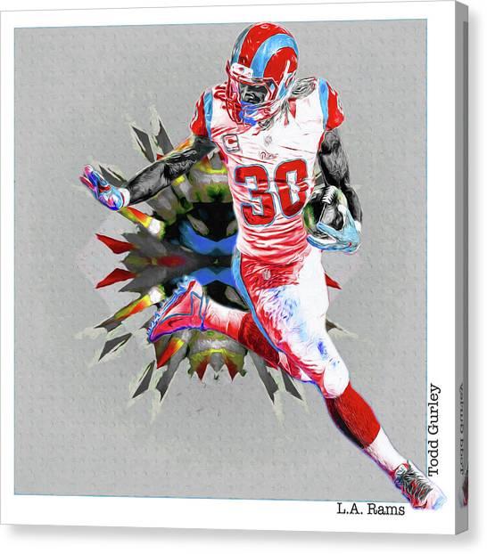 La Lakers Canvas Print - La Rams Paint Todd Gurley 5b by David Haskett