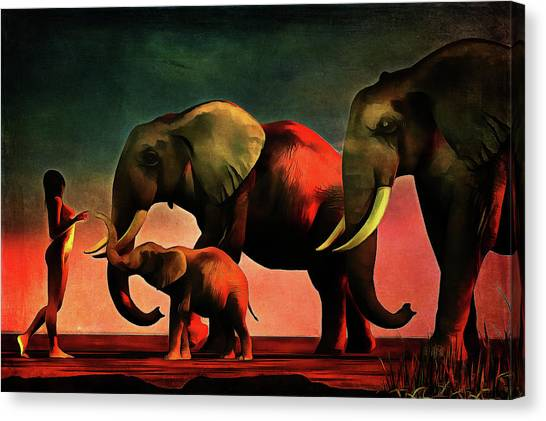 Canvas Print featuring the painting La Rencontre by Jan Keteleer
