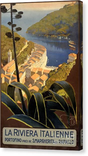 La Riviera Italienne Vintage Travel Poster Restored Canvas Print