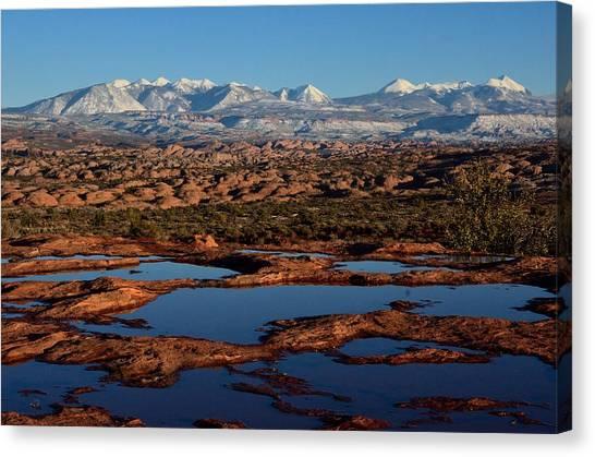 La Sal Mountains And Ephemeral Pools Canvas Print