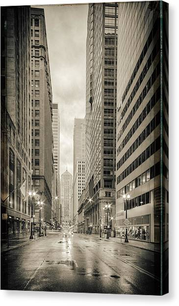 Ben Affleck Canvas Print - Lasalle Street Canyon With Chicago Board Of Trade Building At The South Side - Chicago Illinois by Silvio Ligutti