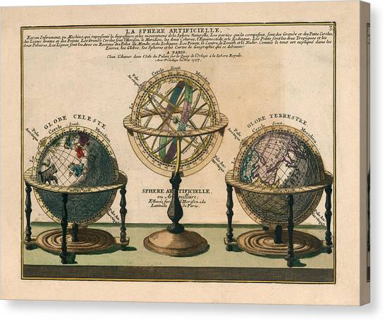 Celestial Globe Canvas Print - La Sphere Artificielle - Illustration Of The Globe - Celestial And Terrestrial Globes - Astrolabe by Studio Grafiikka