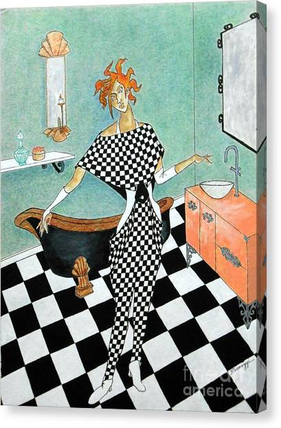 La Toilette -- Woman In Whimsical Art Deco Bathroom Canvas Print