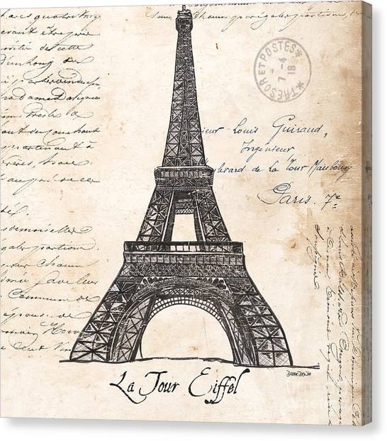 Black Canvas Print - La Tour Eiffel by Debbie DeWitt