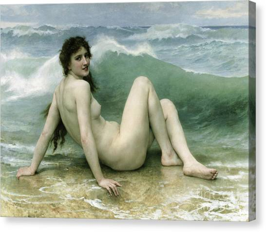 Laying Canvas Print - La Vague by William Adolphe Bouguereau
