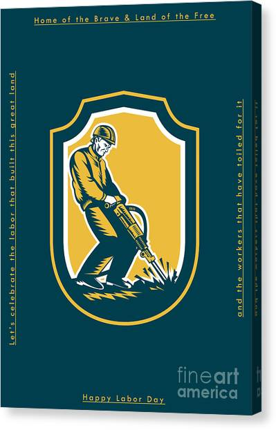Jackhammers Canvas Print - Labor Day Greeting Card Construction Worker Jackhammer by Aloysius Patrimonio