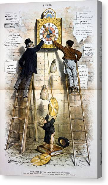 1880s Canvas Print - Labor Movement. Editorial Cartoon by Everett