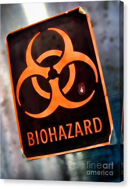 Biohazard Canvas Print - Laboratory Biohazard Danger Warning Label by Olivier Le Queinec