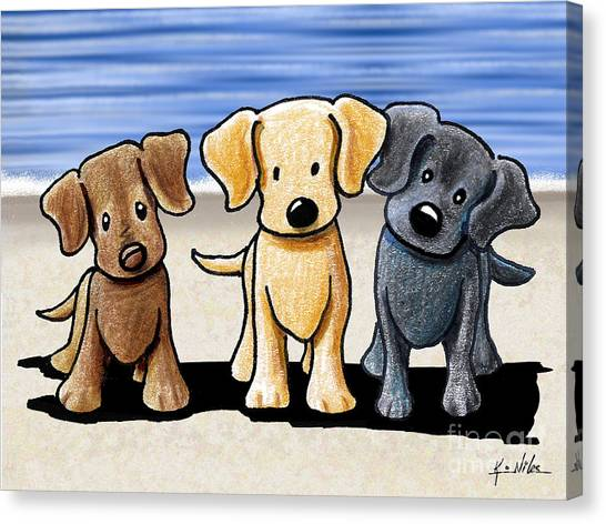 Labrador Retriever Canvas Print - Labrador Beach Trio by Kim Niles