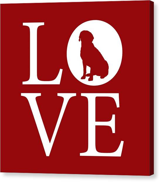 Canvas Print featuring the digital art Labrador Love Red by Nancy Ingersoll