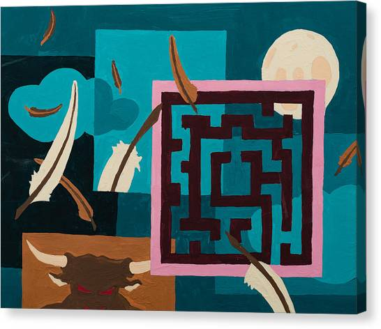 Canvas Print featuring the painting Labyrinth Night by Break The Silhouette