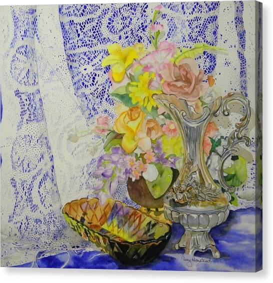 Lace And Flowers Canvas Print by Terry Honstead
