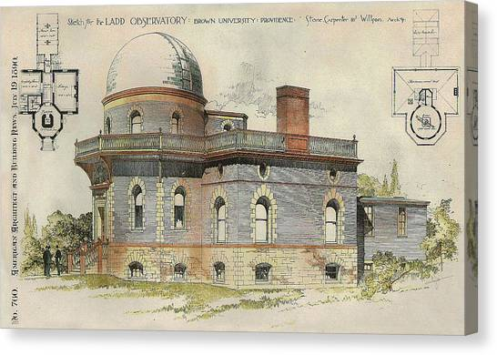 Brown University Canvas Print - Ladd Observatory Brown University Providence Ri 1890 by Stone Carpenter Wilson