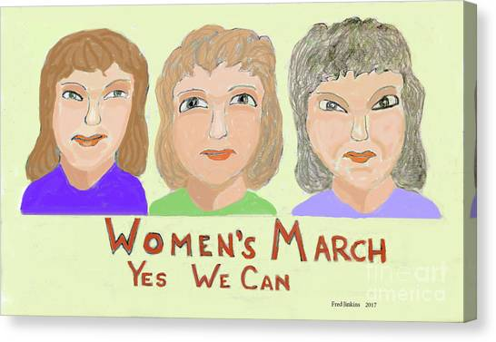 Ladies Marching Canvas Print by Fred Jinkins