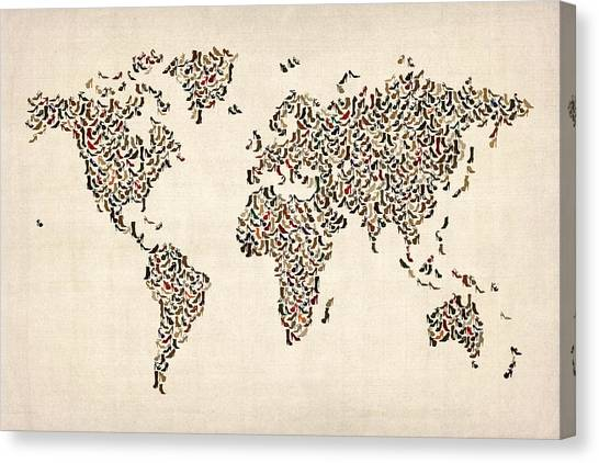 Boots Canvas Print - Ladies Shoes Map Of The World Map by Michael Tompsett