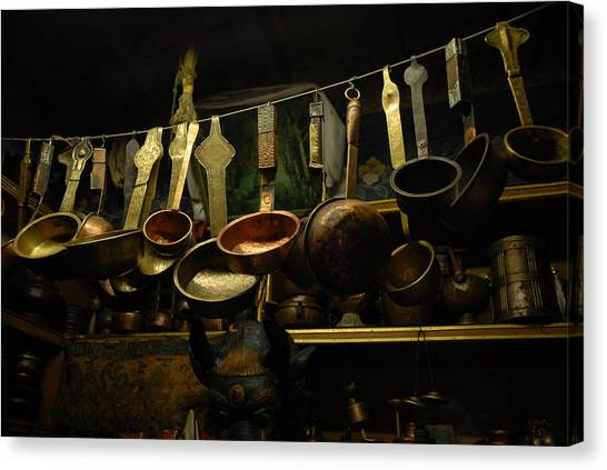 Brass Canvas Print - Ladles Of Tibet by Donna Caplinger