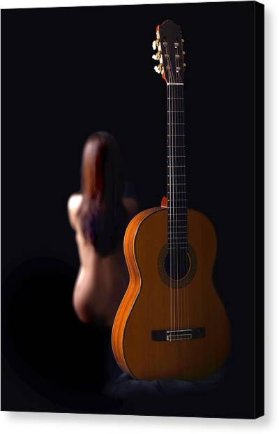 Lady And Guitar Canvas Print
