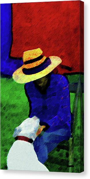 Lady And Puppy Painting Canvas Print