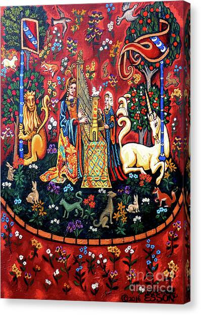 Harpsichords Canvas Print - Lady And The Unicorn Sound by Genevieve Esson