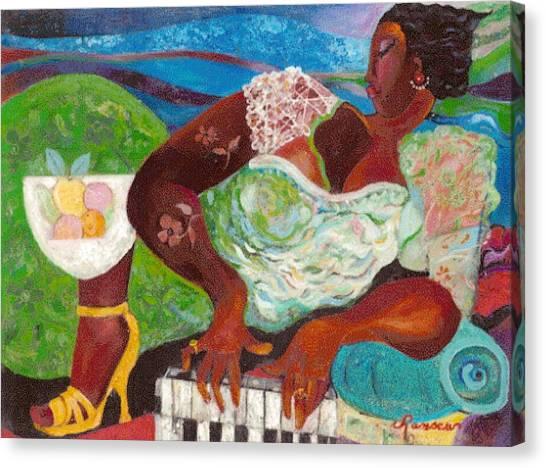 Lady At The Piano Canvas Print