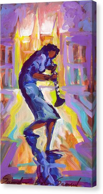 Lady Blue Plays Clarenet At The Saint Louis Cathedral Canvas Print by Saundra Bolen Samuel