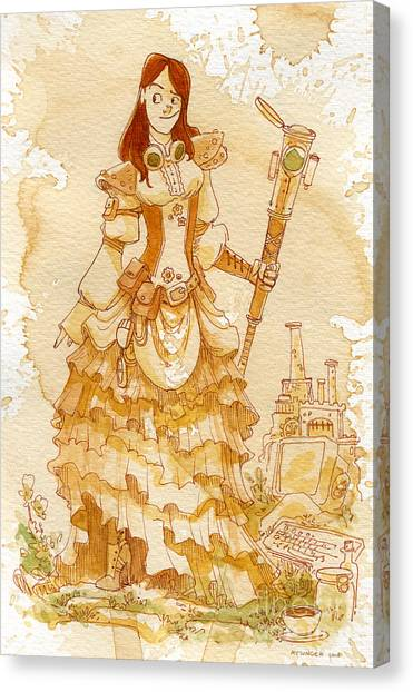 Steampunk Canvas Print - Lady Codex by Brian Kesinger