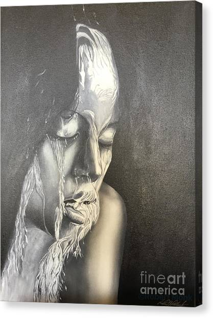 Lady Enjoying A Shower Canvas Print