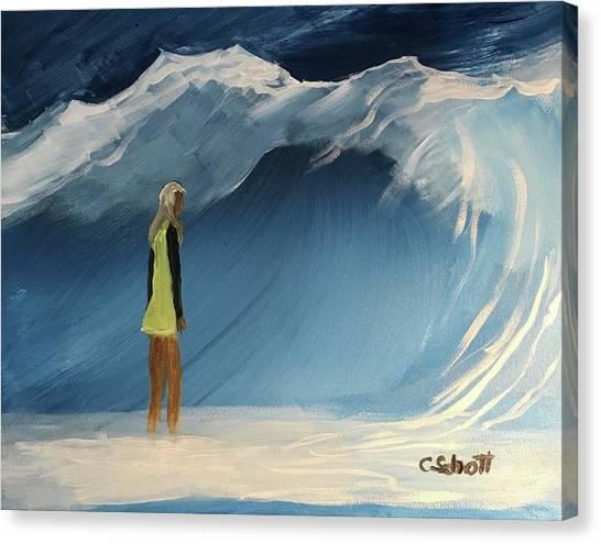 Lady Faces The Wave Canvas Print