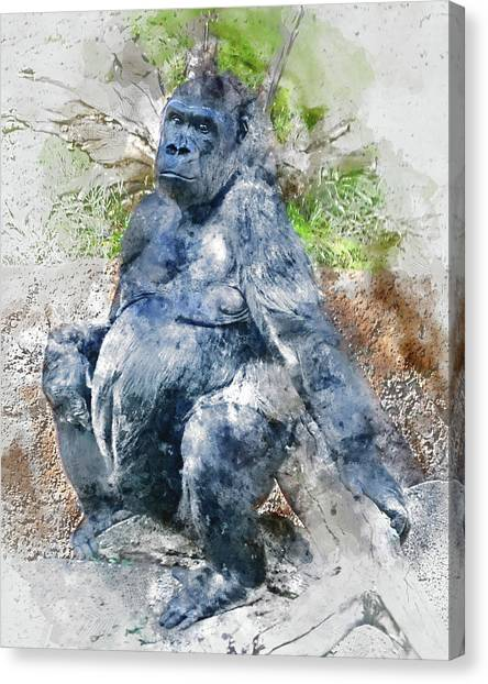 Lady Gorilla Sitting Deep In Thought Canvas Print