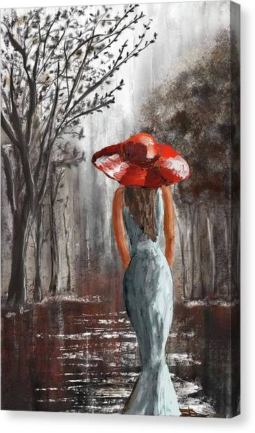 Lady In A Red Hat Canvas Print