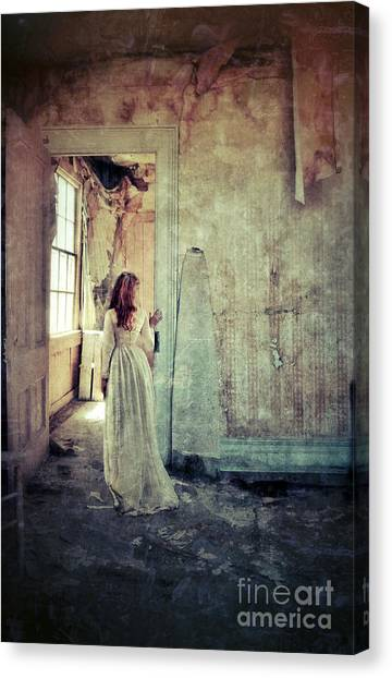 Lady In An Old Abandoned House Canvas Print