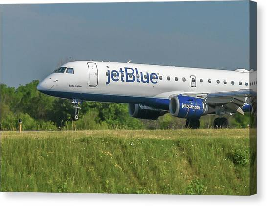 Jetblue Canvas Print - Lady In Blue by Guy Whiteley