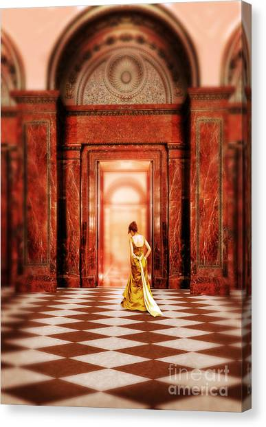 Lady In Golden Gown Walking Through Doorway Canvas Print