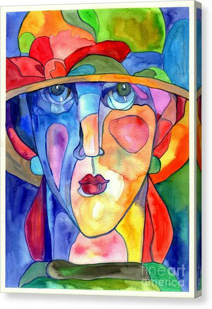 Futurism Canvas Print - Lady In Hat Watercolor by Suzann's Art