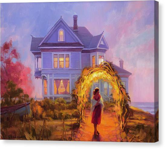 Ocean Sunset Canvas Print - Lady In Waiting by Steve Henderson