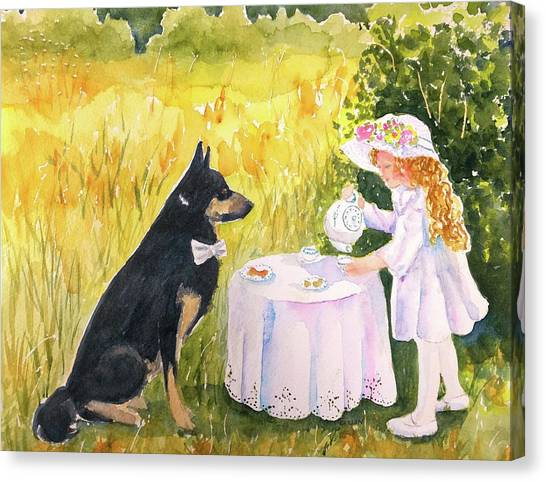 Tea Time Canvas Print - Lady Isabella Invites Mr. Darcy To Tea by Carlin Blahnik CarlinArtWatercolor
