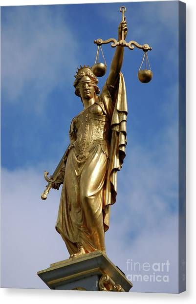 Lady Justice In Bruges Canvas Print