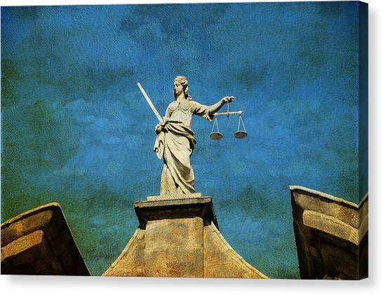 Lady Justice. Streets Of Dublin. Painting Collection Canvas Print