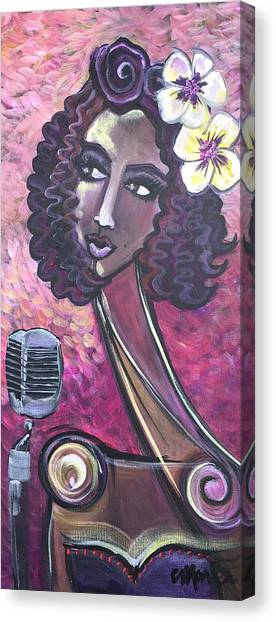 Canvas Print featuring the painting Lady Lauren Midnight Singer by Laurie Maves ART