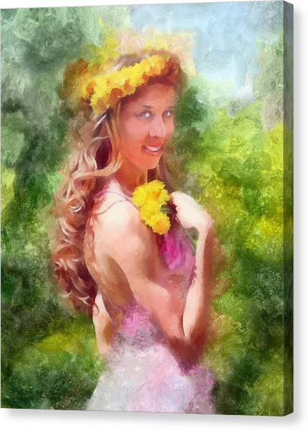 Lady Of The Dandelions Canvas Print by Peter Kupcik