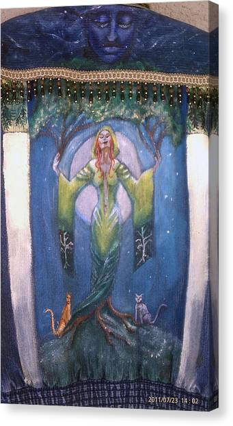 Lady Of The Green Tree Canvas Print
