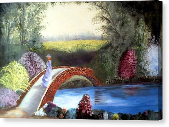 Lady On The Bridge Canvas Print by Julie Lamons