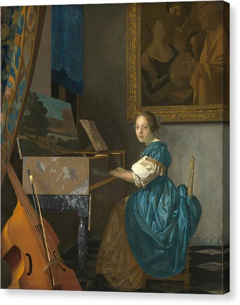 Lady Seated At A Virginal Canvas Print