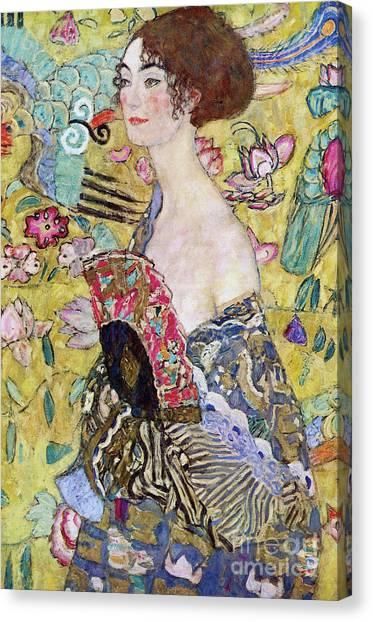 Gustav Klimt Canvas Print - Lady With A Fan by Gustav Klimt