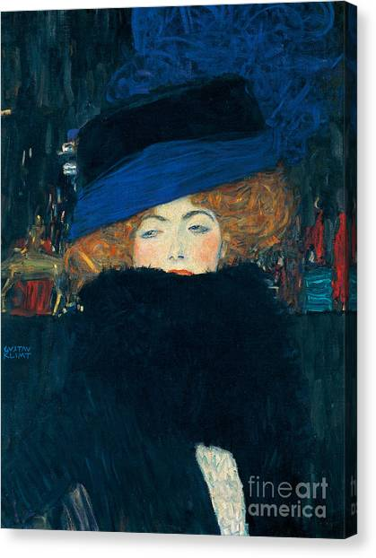 Boa Constrictor Canvas Print - Lady With A Hat And A Feather Boa by Gustav Klimt