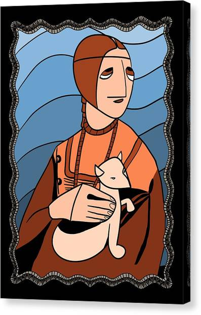 Lady With An Ermine By Piotr Canvas Print