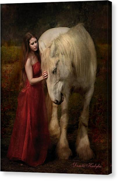 Draft Horses Canvas Print - Lady With An Ermine  by Dorota Kudyba